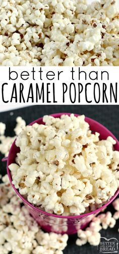 Better Than Caramel Popcorn is gooey, deliciously sweet and so easy to make with just a few simple ingredients! The coating in this caramel popcorn recipe is made with butter, sugar and whipping cream - that& it! Appetizer Recipes, Snack Recipes, Dessert Recipes, Cooking Recipes, Appetizers, Healthy Popcorn Recipes, Sweet Popcorn Recipes, Mini Desserts, Butter Popcorn