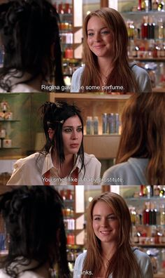 "Mean Girls. ""You smell like a baby prostitute. Teen Movies, Funny Movies, Tv Quotes, Movie Quotes, Funny Quotes, Sassy Quotes, Logan Lerman, Amanda Seyfried, Mean Girls Movie"