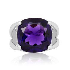 This huge 12ct cushion cut amethyst ring is perfect for all occasions.  You will feel so special in this ring, as it shines beautifully in the light.  The ring is crafted in solid sterling silver.