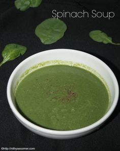 Spinach soup. A flavorsome, bright and creamy soup made with spinach and onion which makes it not only healthy but also delicious.