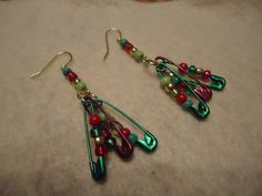 Fun  Safety Pin Earrings by beadswithmanycolors on Etsy, $5.00