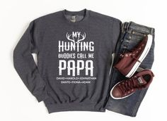Customized Hunting Sweatshirt Personalized Papa Sweater Gift | Etsy Hunting Gifts, Deer Hunting, Fishing Shorts, Direct To Garment Printer, Graphic Sweatshirt, T Shirt, Grandchildren, Grandkids