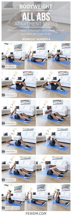 These bodyweight exercises require you to use your whole body to effectively build your core!  Workout #4 in the Apartment Series, All Abs. www.FEWDM.com