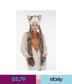 Kids Ladies Long Animal Hats Hood Scarf Fleece Lined Pocket Snood Winter Fur . 3c97f619f4e0