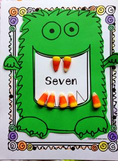 Candy Corn counting monsters math craft and math station