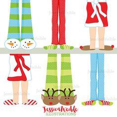 Christmas Pajama Feet Cute Digital Clipart by JWIllustrations