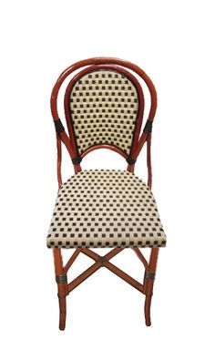 FRENCH BISTRO SIDE CHAIR, HK-33, WEAVE DAMIER, COLORS IVORY & GREEN, BINDINGS GREEN, WOOD FINISH: LIGHT HONEY.