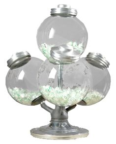 Argentinean candy jars, bottom three globes revolve.