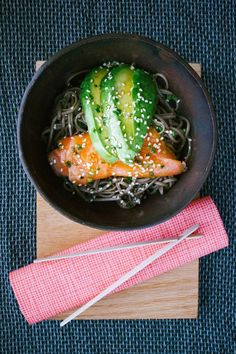 Soba Noodles w/ Smoked Salmon, Avocado & Mirin Dressing + Chardonnay. Serves 2 hungry people + leftovers 4 lunch.