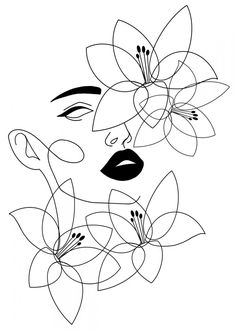 Art Drawings Sketches, Easy Drawings, Drawings To Trace, Easy Flower Drawings, Outline Art, Poster Prints, Art Prints, Art Posters, Illustrations Posters