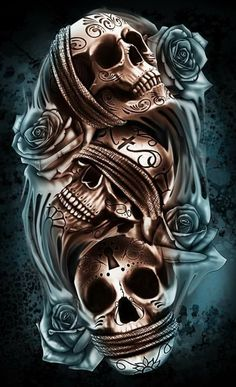 Skull - Sophie World Evil Skull Tattoo, Skull Tattoo Flowers, Skull Rose Tattoos, Skull Girl Tattoo, Skull Tattoo Design, Tattoo Design Drawings, Tatoo Art, Tattoo Designs Men, Design Tattoos