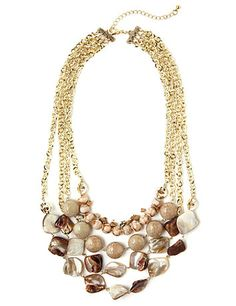 Get an understated, yet elegant look with our multi-strand necklace and its bead and shell embellishments. Pair this with our Moonrise Earrings and Bracelets to complete your look. Lobster claw closure with extender. Customized in size and scale for the plus size woman. For your comfort, all Catherines jewelry is free of lead and nickel.  catherines.com