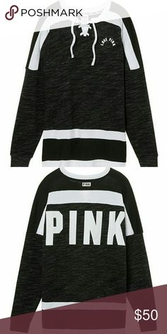 Victoria's Secret Pink Varsity Crew This cozy style features an oversized fit and longer, tunic length.  Oversized Crew neckline Longer, tunic length Imported cotton/polyester PINK Victoria's Secret Tops Tunics