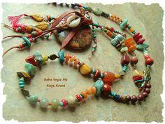 Bohemian Necklace, Boho Turquoise Tribal Necklace, Colorful Rustic Primitive Beaded Necklace, BohoStyleMe, Kaye Kraus by BohoStyleMe on Etsy