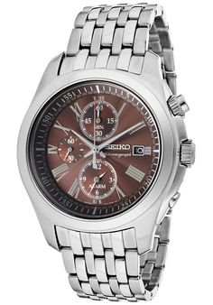 ce7e71da778 Seiko Men s Chronograph Brown Dial Stainless Steel - Watch SNAE51