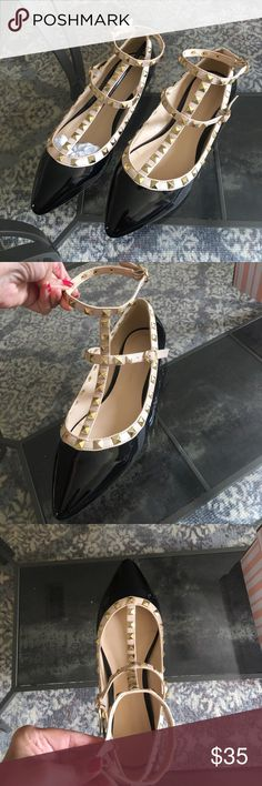 Gorgeous patent flats with gold grommets Gorgeous patent flats with gold grommets | size 7 | new | perfect for any outfit Wild Diva Shoes Flats & Loafers