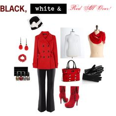 black, red, white, boots, bag, scarf, hat, coat, trousers, gloves, polish