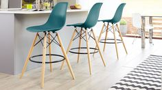 Eames Style Bar Stool in mustard yellow from Danetti. Eames Style Dining Chair, Gray Dining Chairs, Fabric Dining Chairs, Eames Chairs, Bar Chairs, Dining Furniture, Home Furniture, Dining Room, Amor