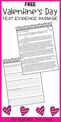 This FREE Valentine passage, with questions and key, is a great way to give your students some text evidence practice during the month of February. The passage is an informational text piece about the history of conversation heart candies and works well for 4th and 5th grades. It is also included in a Valentine's Day Literacy Set for 4th/5th grades! #valentinesdaytextevidence4thgrade #valentinesdaytextevidencefor5thgrade #4thgradetextevidence #5thgradetextevidence