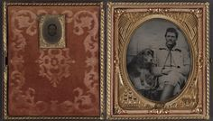 Unidentified soldier in Union uniform with dog and unidentified woman.