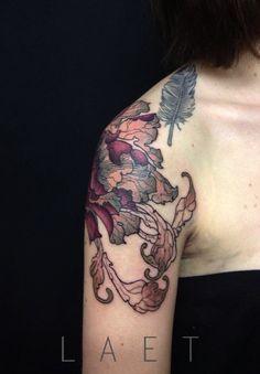 Autumn peonies. Gorgeous riff on floral tattoos.
