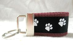 Dog Key Fob Mini - Cat Paw Print Small Key Chain - Maroon Black School Spirit - Paw Print Key Ring  Mini key fobs are a great way to have your keys