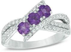 Zales Amethyst Three Stone Slant Ring in 10K White Gold with Diamond Accents XcfLzerU