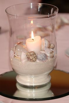beautifully simple, tie a ribbon around the base if you wish, & surround with tealights in your own colors