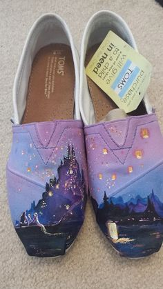 Disney Tangled hand painted TOMS shoes by FritzPaintingCo on Etsy THIS ONE INCLUDES THE TOMS AND HER WORK IS SPOT ON THIS IS HOW I WILL BE SPENDING MY BDAY MONEY
