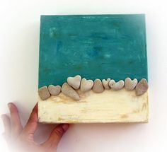 Beach Wall Art Sea Finds Art Wedding gift idea by MedBeachStones