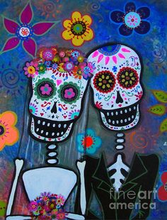 DAY OF THE DEAD wedding,matrimonio, lovers, couple, forever love, prisarts, mexican art, folk art painting, florals, flowers,  POPULAR, BEST GIFT EVER!
