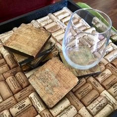 Vintage Map Coasters, Wooden Coasters, Set of 6 by CraneCoDesign on Etsy
