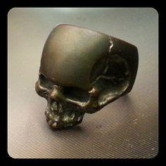 bronze skull ring by KickassPlugs on Etsy