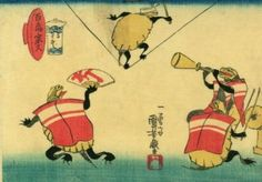 <百亀家久 かるわざ : HYAKKI YAKYU KARUWAZA> ONE HUNDRED TURTLES OF GOOD LUCK ACROBATICS KUNIYOSHI UTAGAWA 1798-1861 Last of Edo Period