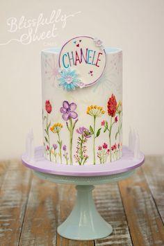 Flower drawings cake