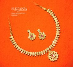 Indian Jewellery and Clothing: Light weight gold jewellery of veda collection from Joyallukas. Gold Earrings Designs, Gold Jewellery Design, Necklace Designs, Necklace Ideas, Silver Jewellery, Light Weight Gold Jewellery, Gold Jewelry Simple, Diamond Necklace Set, Initial Pendant Necklace