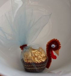 2014 Thanksgiving Ferrero Rocher Turkey place settings - party favors, table decor