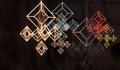 Modern Himmeli decorations by Elina Mäntylä, Valona design. The material is Finnish birch plywood. They are laser cut and made in Finland. Good Environment, Beading Projects, Scandinavian Home, Handmade Ornaments, Wood Design, Home Accessories, Christmas Crafts, Crystals, Children