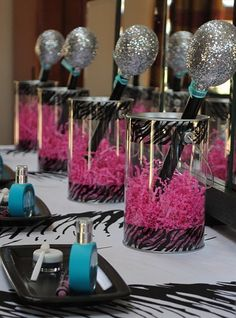 Super cute girly rockstar party ideas with glitter microphones