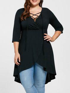 Plus Size Lace Up High Low Hem Top - Black 5xl