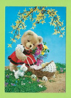 Vintage postcard 70s. Cute girl bear walking with her doll.