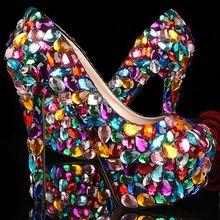 Crystal Glitter Fashion Wedding Shoes Ladies Platform Evening Shoes Graduation Ceremony Shoes Nightclub Dancing Dress Prom Shoes(China (Mainland))