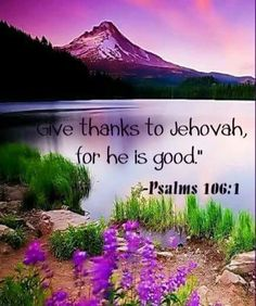 """Psalms 106:1 """"Praise Jah! Give thanks to Jehovah, for he is good; His loyal love endures forever."""""""