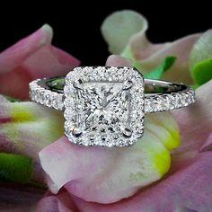 2 77 Ct G VS2 Princess Cut Diamond Halo Engagement Ring 14k with Matchng Band | eBay Bridal Jewellery, Jewelry, November, Crystals, Engagement Rings, Diamond, Wedding, Ideas, Fashion
