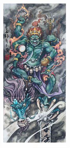 Design Japanese Tattoo Art, Japanese Tattoo Designs, Japanese Art, Samurai Tattoo, Samurai Art, Raijin Tattoo, Arte Viking, Japan Tattoo Design, Hanya Tattoo