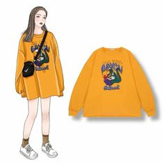 Product info 🌼 Sweatshirt Freesize ORDER: Direct or Mess/Zalo 0382170025 Kpop Fashion Outfits, Ulzzang Fashion, Harajuku Fashion, Korean Outfits, Teen Fashion, Trendy Outfits, Retro Fashion, Cute Outfits, Fashion Design Sketches