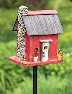 Got it for Christmas!  Red Barn Wood Bird House - made in USA from real old barns