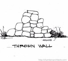 Thrown Wall Sketch by Dallas Architect, Steve Chambers American Poets, American Artists, American Impressionism, Stonehenge, Natural Forms, New England, Stone Walls, Dallas, Landscape