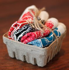 Wouldn't this make a sweet give along with a jar of homemade jam?  Berry dishtowels in a berry container.