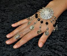 Coin chain Slave Bracelet Gold Silver Black Bead gypsy belly dance jewelry